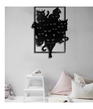 Объемная 3D картина из дерева Черные коты DC1605313, 50х35 см