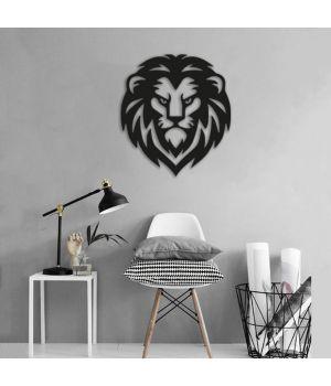 90x101 см, объемная 3D картина из дерева Серьезный лев