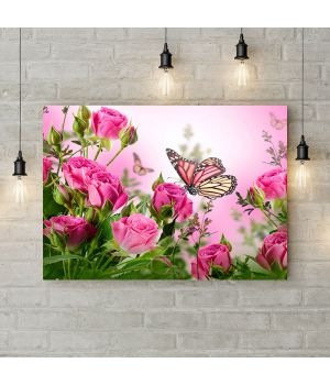Картина на холсте Бабочка на розе, 50х35 см