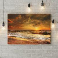 Картина на холсте Оранжевый закат над морем, 50х35 см