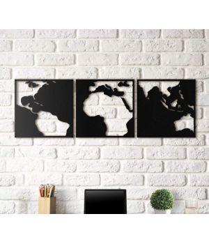 Объемная 3D картина из дерева Карта контрастов DC1605224, 50х150 см