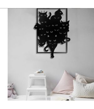Объемная 3D картина из дерева Черные коты DC1605313, 70х50 см