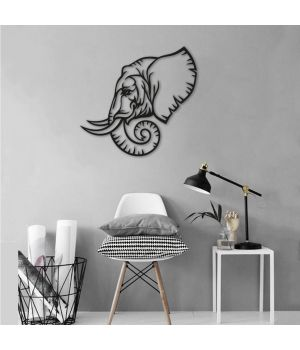 40x38 см, объемная 3D картина из дерева Профиль слона