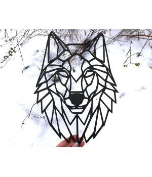 Об'ємна 3D картина з дерева Вовк, 35x50 см