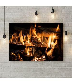 Картина на холсте Пылающие дрова, 50х35 см
