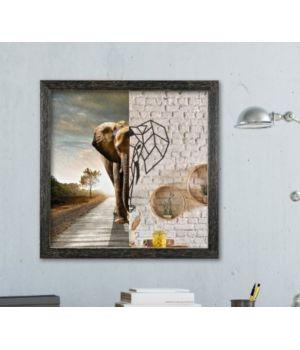 Объемная 3D картина из дерева Слон из 2 частей DC1605256, 50х50 см