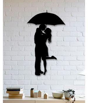40x68 см, объемная 3D картина из дерева Пара под дождем