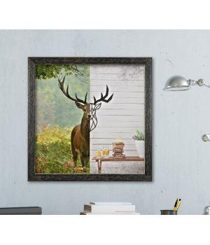 Об'ємна 3D картина з дерева Олень з 2 частин DC1605257, 50х50 см