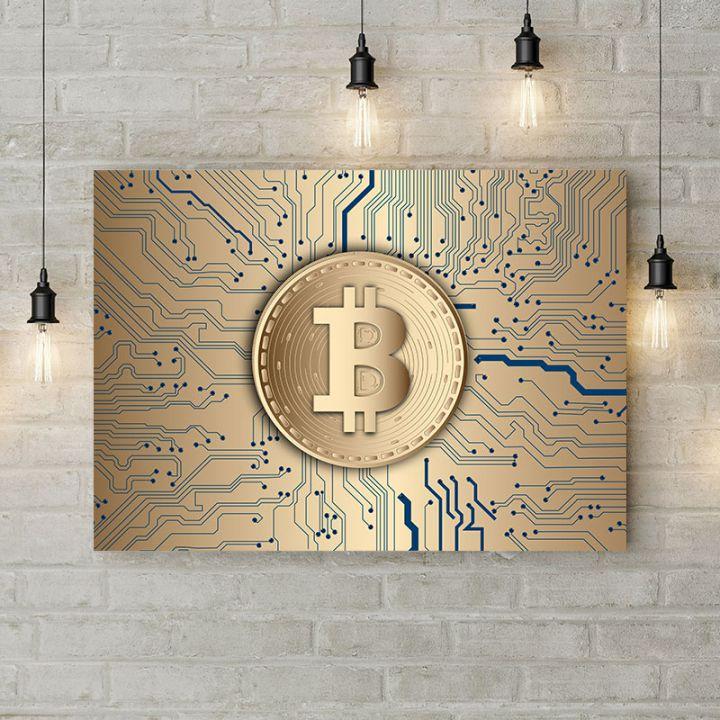 Картина на холсте Золотой биткоин, 50х35 см