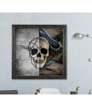 Об'ємна 3D картина з дерева Череп пірата з 2 частин DC1605258, 50х50 см