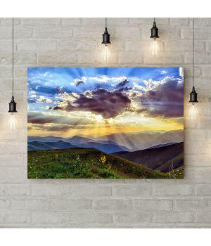 Картина на холсте Лучи солнца на горами, 50х35 см