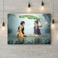 Картина на холсте В реке под дождем, 50х35 см