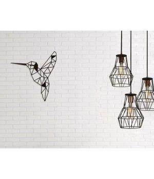 50x50 см, объемная 3D картина из дерева Парящая колибри