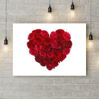 Картина на холсте Сердце из красных роз, 50х35 см