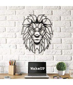 41x52 см, объемная 3D картина из дерева Лев царь зверей