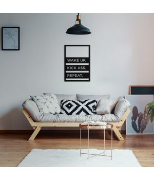 40x57 см, объемная 3D картина из дерева Wake UP Kick ass Repeat