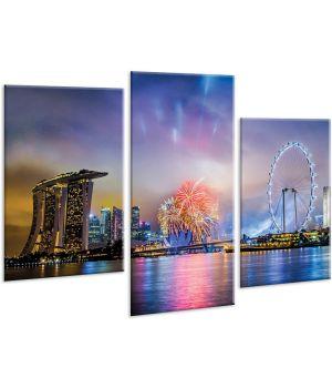 Красивая комнатная модульная картина на холсте City AMD 105, 96х70 см