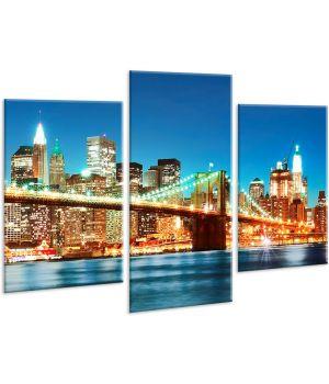 Красивая комнатная модульная картина на холсте City AMD 043, 96х70 см