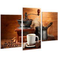Красива кімнатна модульна картина на полотні Coffee AMD 055, 96х70 см