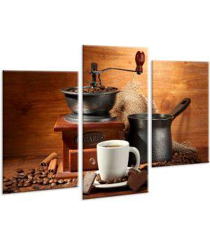 Красивая комнатная модульная картина на холсте Coffee AMD 055, 96х70 см