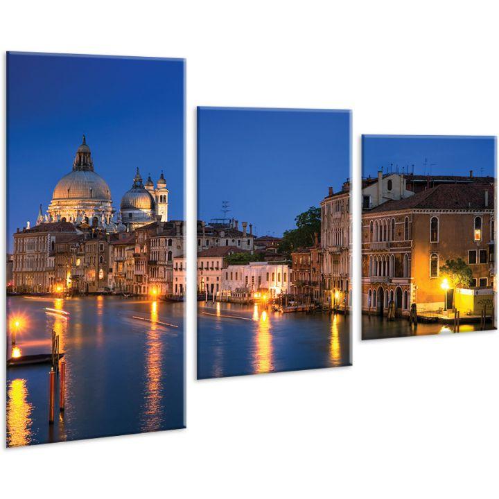 Красивая комнатная модульная картина на холсте Evening city AMD 007, 96х70 см