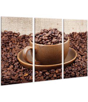 Красивая комнатная модульная картина на холсте Coffee AMD 099, 96х70 см