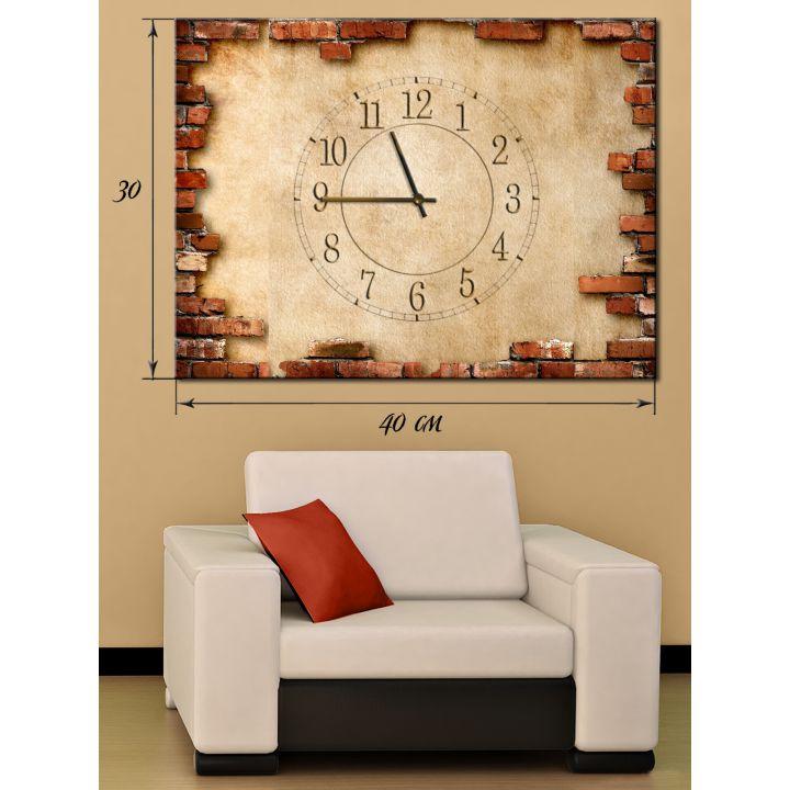 Часы-картина 30х40 на холсте Штукатурка и кирпичная кладка