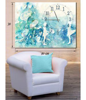 Часы-картина 30х40 на холсте Играющие девочки