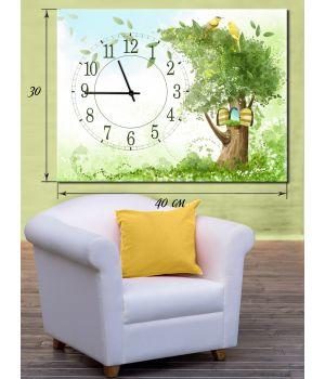 Часы-картина 30х40 на холсте Сказочное дерево