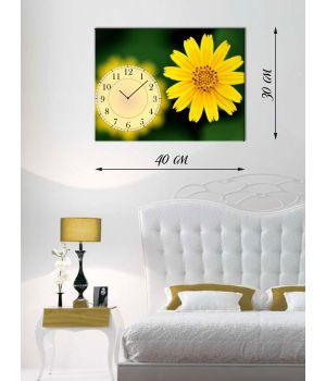 Часы-картина 30х40 на холсте Желтый цветок