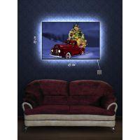 Картина с подсветкой 29х45 Ретромобиль и елка