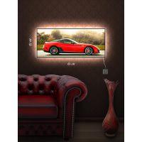 Картина з підсвіткою 29х69 Червоне авто