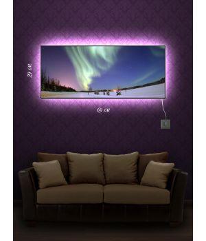 Картина с подсветкой 29х69 Северное сияние