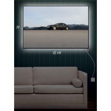 Картина с подсветкой 29х45 Авто и горы