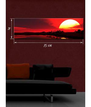 Картина на холсте 21х75 см Закат солнца