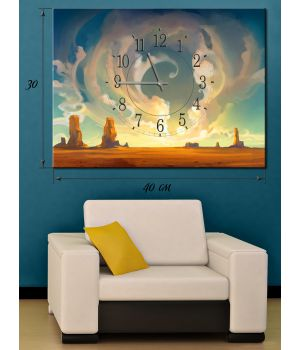 Часы-картина 30х40 на холсте Пустыня Мохаве