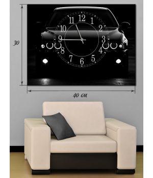 Часы-картина 30х40 на холсте Черный автомобиль
