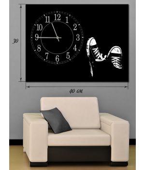 Часы-картина 30х40 на холсте Кеды