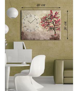 Часы-картина 30х40 на холсте Дерево сакуры