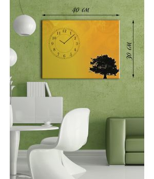 Часы-картина 30х40 на холсте Дерево на закате дня