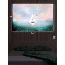 Картина с подсветкой 29х45 Белый парусник