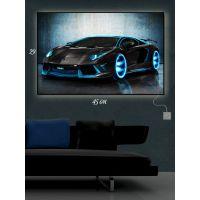 Картина с подсветкой 29х45 Спортивное черное авто