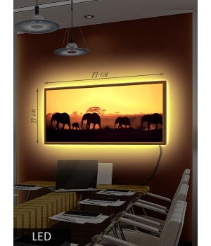 LED Картина Африканские слоны