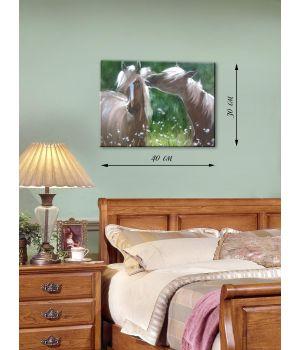 Картина на холсте 30х40 Влюбленные лошади