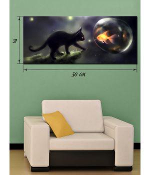 Картина на холсте 21х50 см Черный кот и золотая рыбка