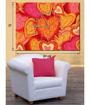 Часы-картина 30х40 на холсте Влюбленные сердца