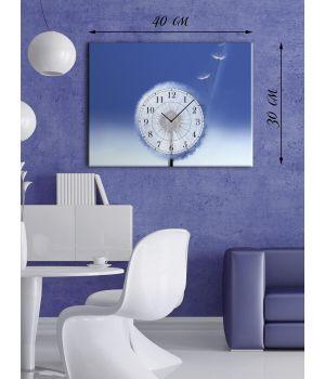 Часы-картина 30х40 на холсте Пушистый одуванчик
