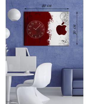 Часы-картина 30х40 на холсте Красное и белое