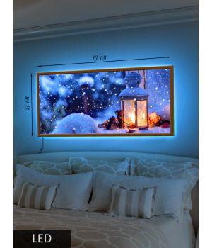 LED Картина Заснеженный фонарик