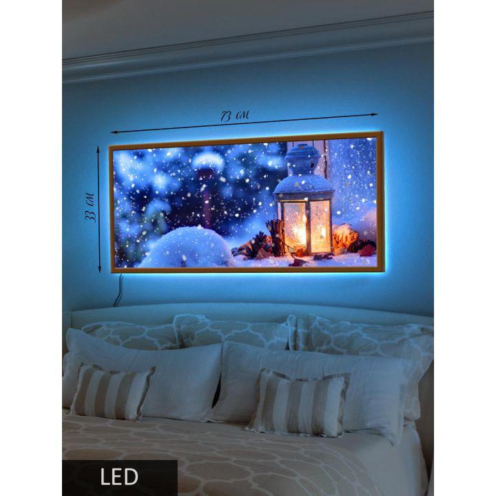 Светодиодная LED Картина Заснеженный фонарик